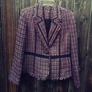 Tweed Frayed Hem Blazer/Jacket/ 10